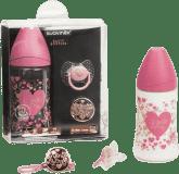 SUAVINEX Zestaw butelka trójprzepływowa 270 ml + klips + smoczek (0-4m) Haute Couture – dziewczynka