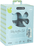 SUAVINEX Balení kojeneckých láhví 270 ml 3 poziční silikon savička – kluk
