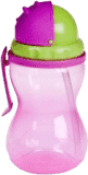 CANPOL BABIES Láhev sportovní se slámkou- růžová 370 ml