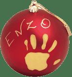 BABY ART Vianočný odtlačok na stromček Christmas Ball - mat red