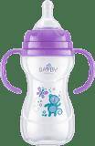 BAYBY BFB 6107 Kojenecká láhev s úchyty PP 240 ml - fialová (6m+)