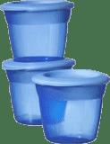 TOMMEE TIPPEE Kelímky s víčkem na jídlo 3 ks Basic 100 ml – modré