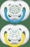 AVENT Smoczek Sensitive 2 szt. (silikon) 6-18m - niebieski + żółty