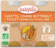 2x BABYBIO Mrkev s máslovou dýní, kuřetem a rýží 200 g