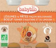 BABYBIO Zelenina s cestovinami na bolonský spôsob s hovädzím (2x200g) – mäsovo-zeleninový príkrm