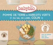 BABYBIO Příkrm brambory a zelené fazolky s mořskou štikou - maso-zeleninový příkrm (2x200g)