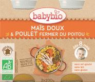 BABYBIO Menu sladká kukuřice s kuřecím masem 2 x 200 g
