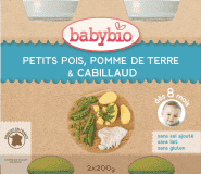 2x BABYBIO Menu hrášek a brambory s islandskou treskou 200 g