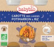 BABYBIO Večerné menu mrkva, tekvica, ryža 2 x 200 g