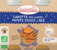 2x BABYBIO Večerní menu mrkev se sladkými brambory a pšenicí 200 g