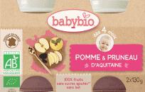 BABYBIO Príkrm jablko slivka 2 x 130 g