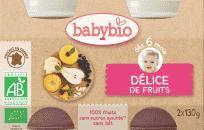 BABYBIO Príkrm ovocná zmes 2 x 130 g