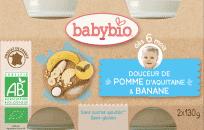 BABYBIO Příkrm krém jablko banán 2 x 130 g