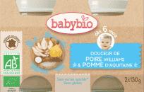 BABYBIO Príkrm krém, hruška, jablko 2 x 130 g
