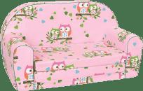 BINO Mini kanapa różowa – sówki