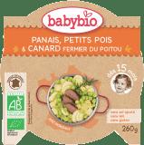 BABYBIO Příkrm pastinák s hráškem a farmářskou kachnou 260 g - maso-zeleninový příkrm