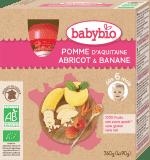BABYBIO Kapsička jablko, marhuľa, banán 4 x 90 g