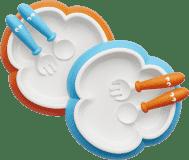 BABYBJÖRN Talířek s příborem 2ks/balení – Oranžový / Tyrkysový