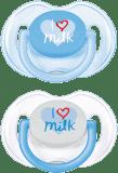 """AVENT Smoczek """"I love milk"""" 2 szt. (silikon) 0-6m - biały + niebieski"""