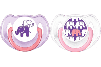AVENT Cumlík Obrázok 2ks (silikón) 6-18m, slon fialový