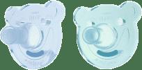 AVENT Smoczek Soothie okrągły (0-3m) silikon 2 szt. – chłopczyk, niebieski+turkusowy