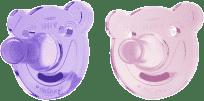 AVENT Smoczek Soothie okrągły (0-3m) silikon 2 szt. – dziewczynka, różowy+fioletowy