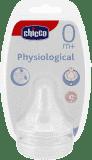 CHICCO Cumlík na fľašu fyziologický, silikónový, normálny prietok, 2 ks