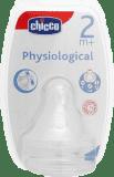 CHICCO Cumlík na fľašu fyziologický, silikónový, nastaviteľný prietok, 2 ks