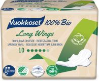 VUOKKOSET 100% Bio Long Wings Thin (10 ks) – dámske vložky