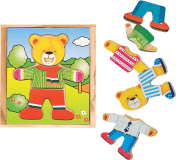 """WOODY Puzzle šatní skříň """"Medvídek"""", 18 dílů"""