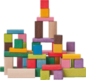WOODY Kostky barevné, 50 dílů, 2,5 x 2,5 x 2,5 cm