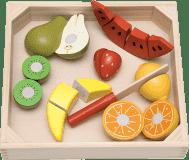 WOODY Krojenie owoców - owoce z melonem na desce