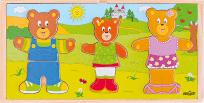 """WOODY Šatní skříň """"Oblékni si svou medvědí rodinku"""""""