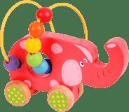 BIGJIGS Motorické hračky - Motorický labyrint na kolečkách (slon)