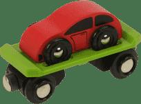 BIGJIGS RAIL Vagonek vláčkodráhy - Vagon s autem + 2 koleje