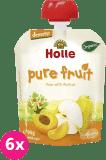 6x HOLLE Bio Hruška s marhuľou, 90 g - ovocné pyré
