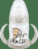 NUK First Choice Láhev na učení Snoopy PP, 150 ml, silikonové pítko (6-18 m) – bílá