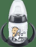 NUK First Choice Láhev na učení Snoopy PP 150 ml, silikonové pítko (6-18 m) – černá