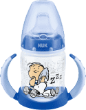 NUK First Choice Láhev na učení Snoopy PP 150 ml, silikonové pítko (6-18 m) – modrá