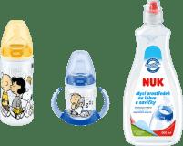 NUK First Choice Láhev na učení Snoopy 300 ml + 150 ml + mycí prostředek – žluto/modré