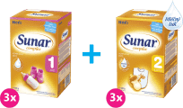 3x SUNAR Complex 1 (600 g) + 3x SUNAR Complex 2 (600 g) – kojenecké mléko