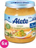 6x ALETE BIO Zelenina se špagetami a krůtím masem 250 g – masozeleninový příkrm