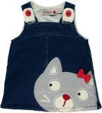 BOBOLI Denimová šatová sukně na kšandy s kočkou, vel. 92 - modrá, holka