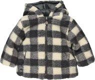 BOBOLI Chlupatá zimní bunda, vel. 98 - šedá/kostka, kluk