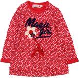 BOBOLI Dívčí šaty a aplikací 80cm holka - červená