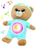 TEDDIES Miś usypiaczek 32 cm z lampką i dźwiękami – niebieski