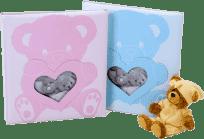 FOTOALBUM dětské na růžky - modré (medvídek + srdíčko)