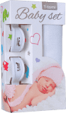 T-TOMI Baby set - bambusová osuška + kočárkový kolíček, bílá