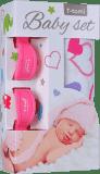 T-TOMI Baby set - bambusová osuška + kočárkový kolíček, růžová/srdíčka