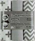 T-TOMI Bambusové BIO pleny, sada 3 ks, šedé stříšky